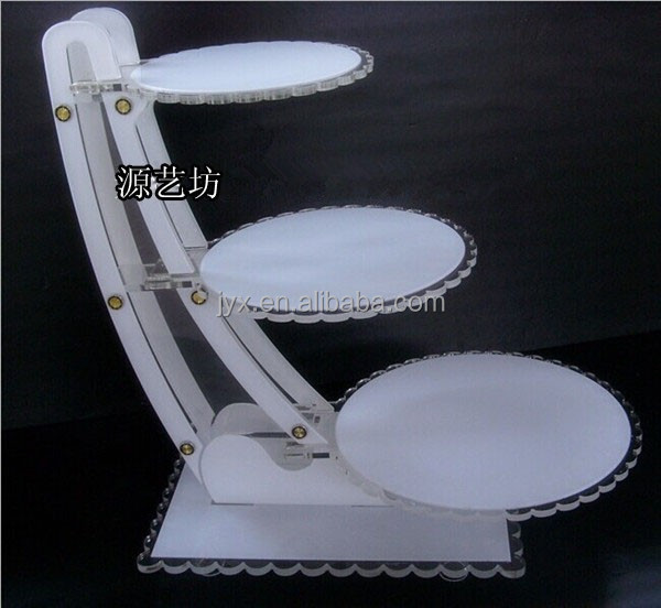 New design 3 tier customized white acrylic wedding cake stands for wedding wholesale