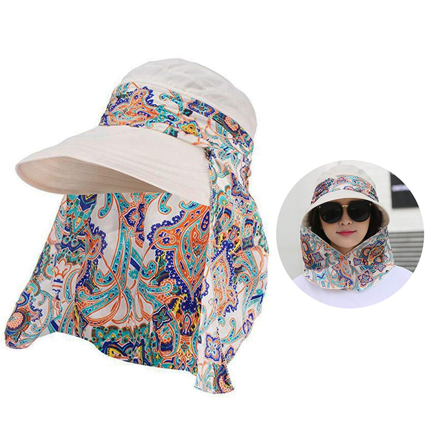 81cdad3f7b5 Get Quotations · Originalidad Visor Hats Wide Brim Cap UV Protection Summer Sun  Hats with Neck Face Flap Cover for