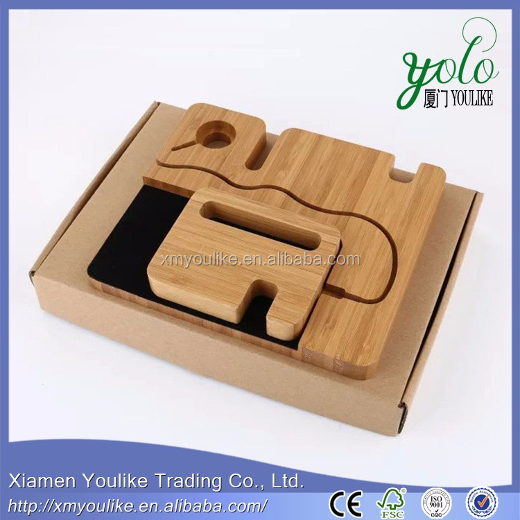 Mobile Phone Bamboo Wood Charging Stand Bracket for Phone