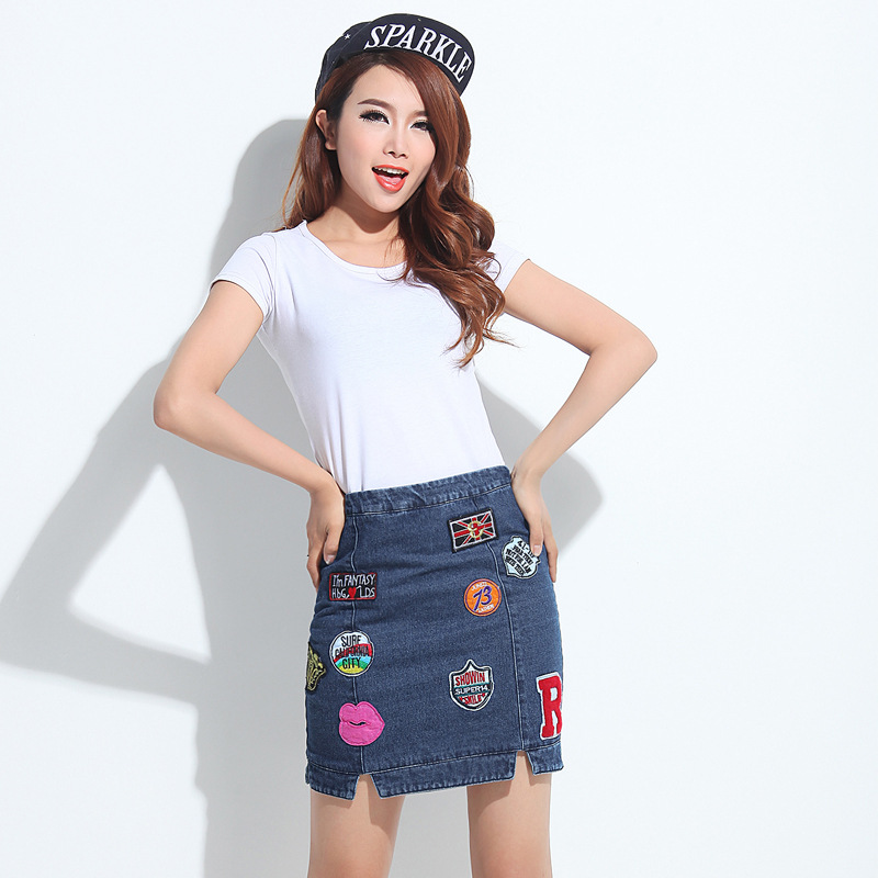 bc8d3621394 High Waist Badge Denim Jeans Pencil Skirt 2015 New Summer Korean Slim  Package Hip Skirt Girl