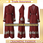 CM17# Modern arabic fashion linen denim crepe islamic muslimah women dress luxury saudi abaya of jeddah manufacturers
