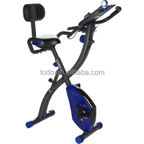 Foldable Semi Recumbent Magnetic Upright Exercise Bike W/ Pulse Rate Resistant Bands