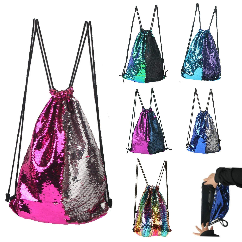 BABYHYY Fashion Glitter Drawstring Backpack Sequins Mermaid Sequins Magic Reversible Glitter String Bag Gym Yoga Backpack