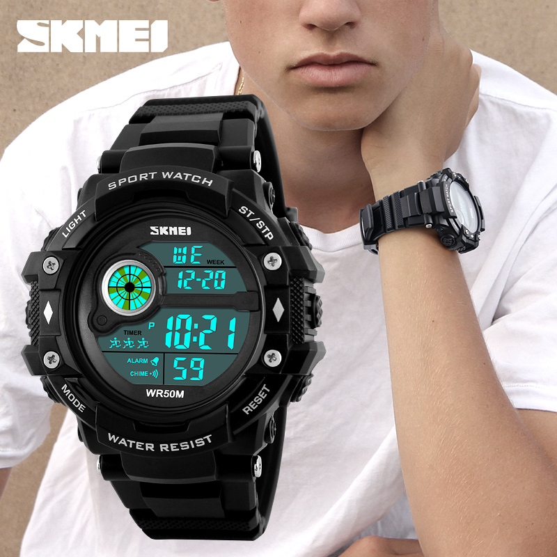 Young boy mens sport watches digital hour male skmei 1280 stopwatch large dial wrist watch