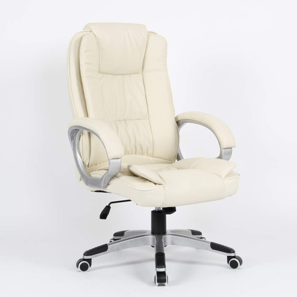 QFFL jiaozhengyi Swivel Chair, Home Computer Chair Lifting and Rotating Office Swivel Chair Boss Chair (Color : Beige)