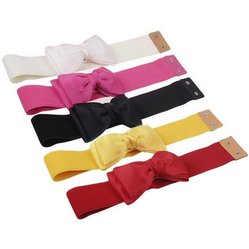Fashion Women Bowknot Elastic Bow /Wide Stretch Buckle Waistband Waist Belt