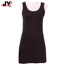 OEM Ladies Cotton Petite Embellished Elegant Black Sexy Party Victorian Sleeveless Casual Scoop Neck Knee Length Dresses
