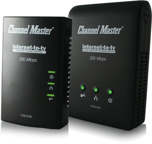 ChannelMaster Internet to TV Kit -Contains 1 (1-port) Power-line Ethernet Adapter and 1 (4-port) Power-line Ethernet Switch (CM-6104)