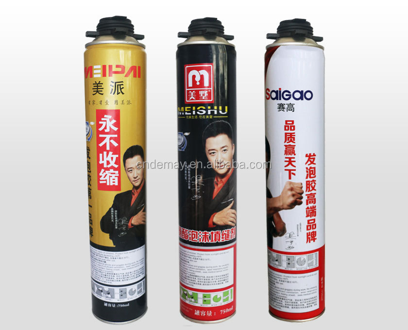 750ml one component expanding polyurethane PU foam sealant , waterproof pu foam