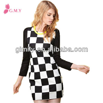 Ladies Elegant Black And White Plaid Long Sleeves Pictures Semi
