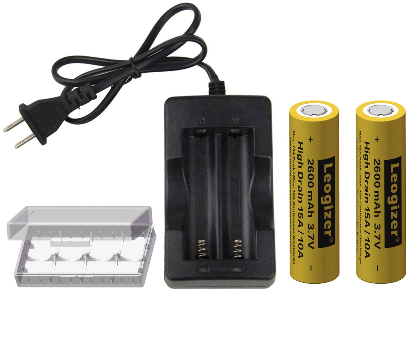 Leogizer PA12B 18650 Battery and Charger Set for LED Flashlight 3.7V Lithium-ion Real 2200mAh Rechargeable Battery with Protection Board Dual-slot Smart Charger and Battery Case Set