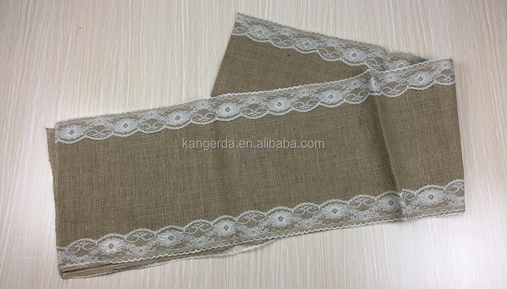 Warm Burlap Lace Hessian Table Runner Jute Country Outdoor Wedding Party Decor