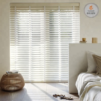 Pure White outdoor Wooden Venetian Blind/2inch faux wood venetian blinds