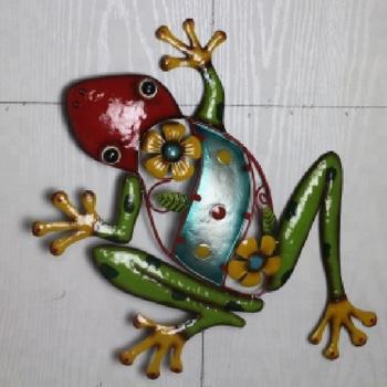 Home Garden Decor Gecko Lizard Painted Metal Wall Art