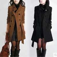 new Women Woolen Winter Trench Double Button Fur Collar Coat Jacket women's coat