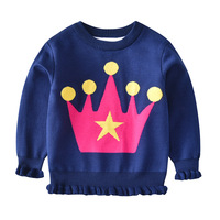 Crown cartoon baby kids japanese neck design for tops workout sweater design for girls