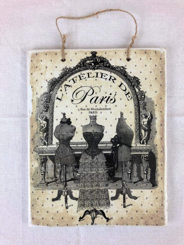 Vintage Paris Fashion Dress Form Printed Handmade Wood Sign