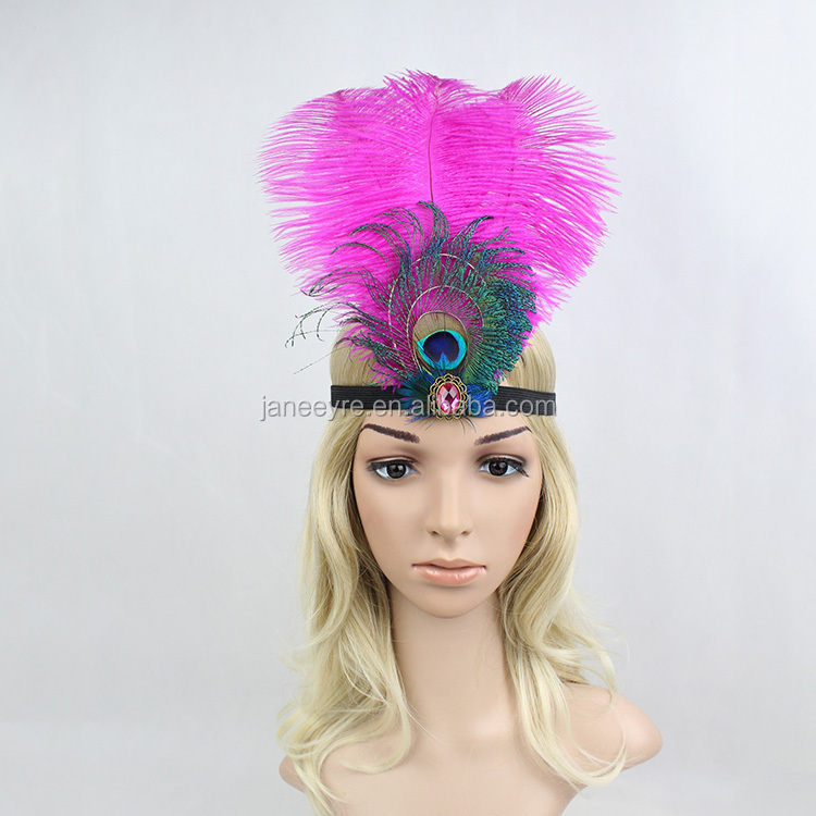 Wholesale Charleston Costume Indian Feather Headband, Peacock Headband For Hair