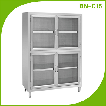 Stainless Steel Kitchen Storage Cabinet With Pattern Showing Case