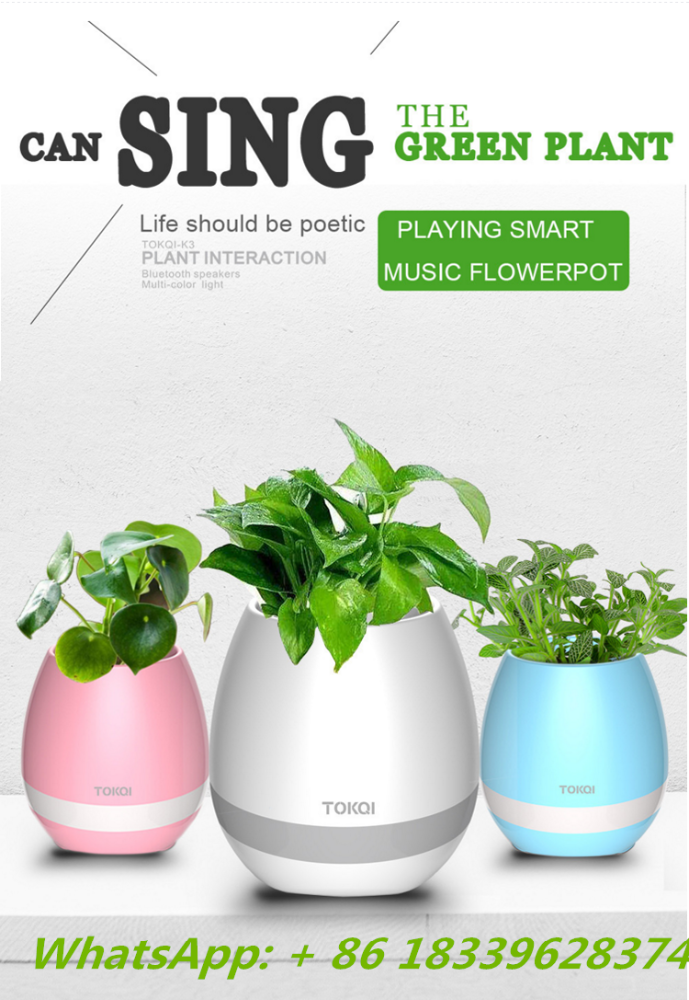 New greeen plant smart music flowerpot as gift or decoration in office speaker music flowerpot singing plant