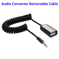Wholesale 3.5mm Male to USB 2.0 Female Audio Converter Retractable Coiled Cable for Car U Disk
