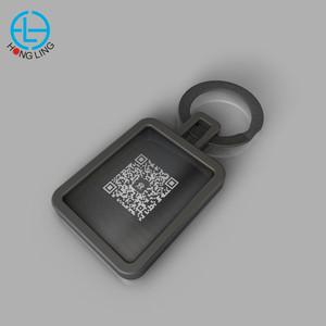 Factory price custom information QR code metal keychain