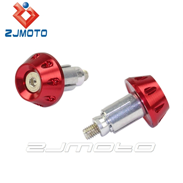 "ZJMOTO Red CNC Aluminum Bar End Handlebar End Plugs Motorcycle Hand Grip Bar Ends For 7/8"" Handle Bar Motorcycle"