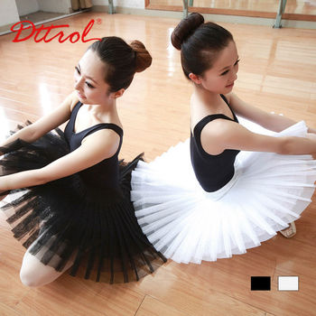 D005835 Dttrol white black pleated tulle ballet tutu skirt for girls