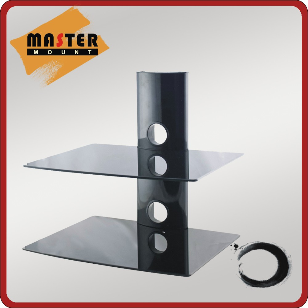 2 layers Aluminum Glass Shelf DVD Wall Mount