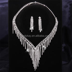 Tassel crystal pendant jewelry necklace and earrings set