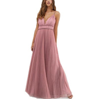 Women Trap Shoulder Backless Sleeveless Tape Waist Pleated Floor Length Maxi Prom Dress