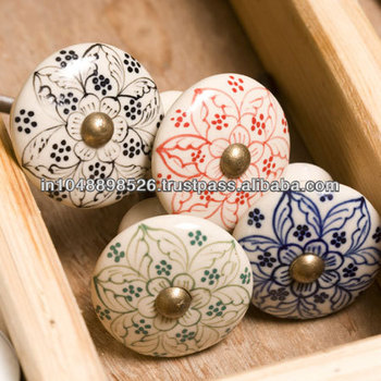 Hand painted moroccan ceramic furniture knobs available in for Painted ceramic cabinet knobs