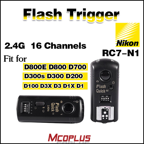Wireless flash trigger 2.4GHz 16 channels RC7-N1 for Nikon D800E D800 D700 D300S D300 D200 D100 D3X D3 D1X D1