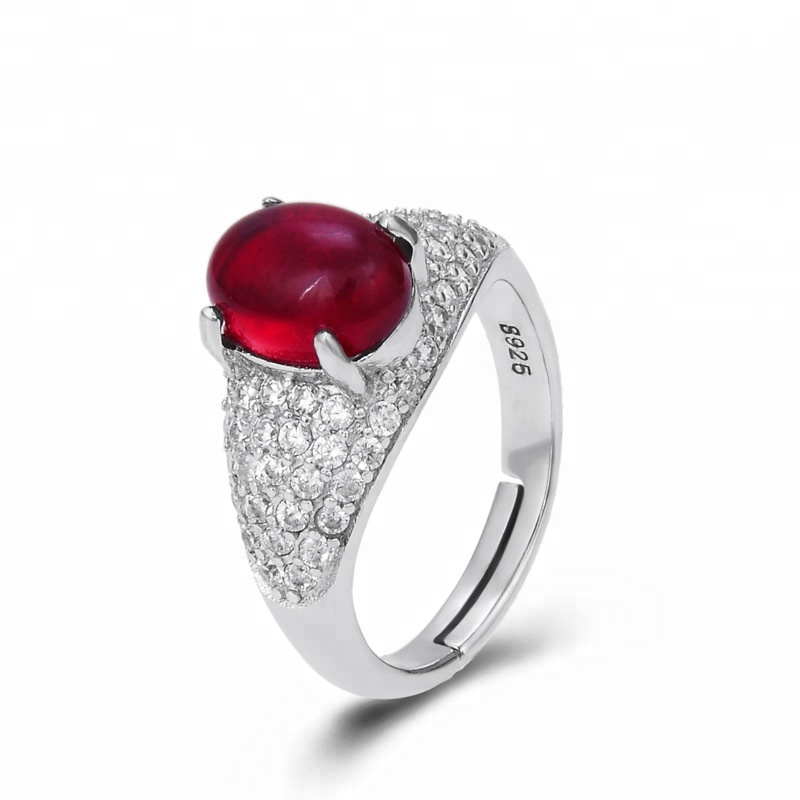 Queen Style Inlay Zircon and Red Crystal S925 Opening Rings for Women