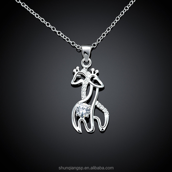 5aa9e07debecc8 Manufacturers wholesale diamond giraffe necklace Korean pendant fashion  gifts Valentine's Day jewelrysilver necklace