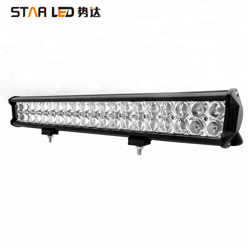 Factory wholesale 12/24 volt 20'' Dual Row 4D Lens 126w car offroad LED Work Light Bar for truck