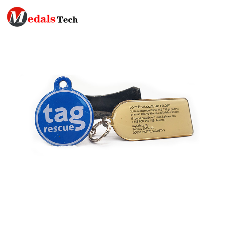 Custom cheap code printing metal double sides epoxy  pets tag