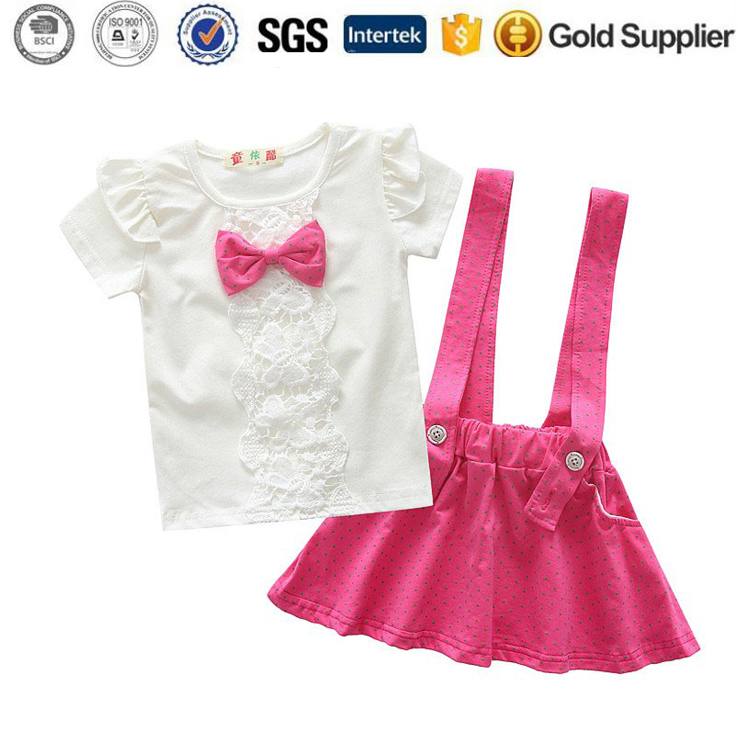 Kids boutique clothing Bib dress suit 2pcs baby girl summer set