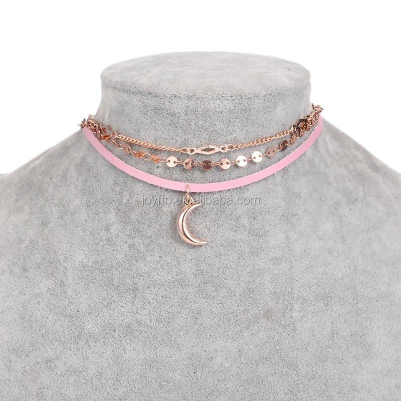 82e34d9eac73 Luna lentejuelas gargantilla collar de cadena de múltiples capas  declaración moda mujer joyas collares