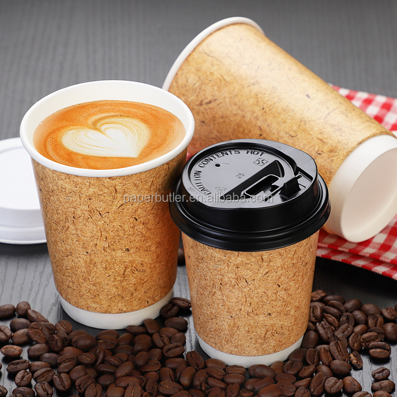 Wholesale Kraft disposable double wall paper coffee cup,Design your own paper coffee cup