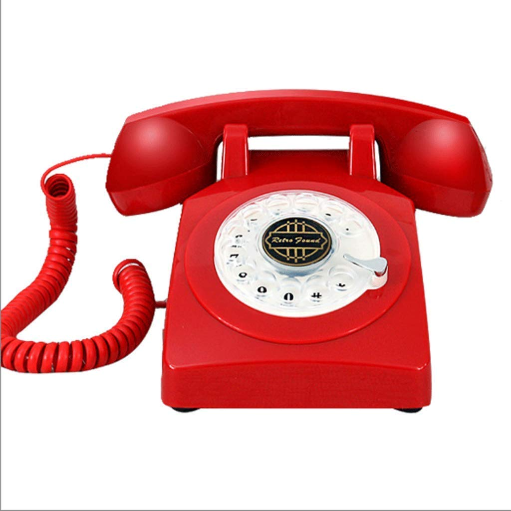 CHX Antique Rotating Dial Telephone Multicolor Landline Used for Household Business Decoration CHXV (Color : Red)