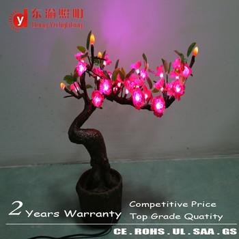 Indoor Decoration Bonsai Tree Lamp Pink Led Florescent Flower Tree ...
