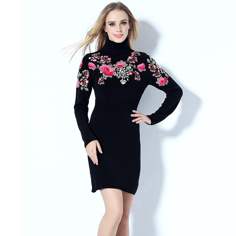 Get Quotations · Luxury Embroidery Women Sweater Dress High Quality 2015  Autumn Winter Long Sleeve Turtleneck Plus Size Knitted d92694a47