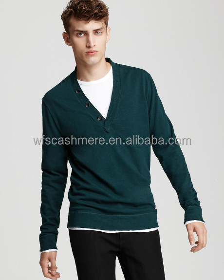 High quality Army green 14gg male cashmere jumper sweater v-neck