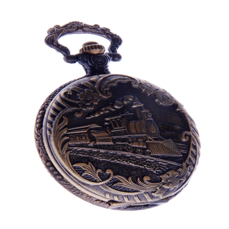 Railroad Train Pocket Watch With Chain Quartz Arabic Numerals Vintage Locomotive Design PW-41