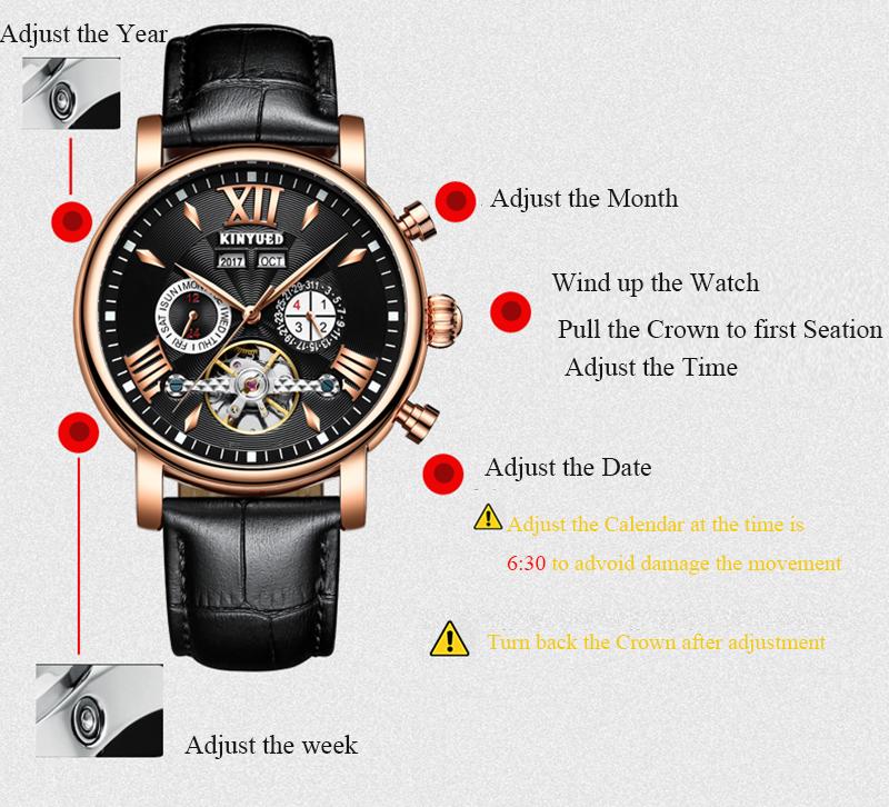 7b115138660e 2018 Masculino Kinyued relojes de los hombres de la marca de lujo de acero  negro Mecánico
