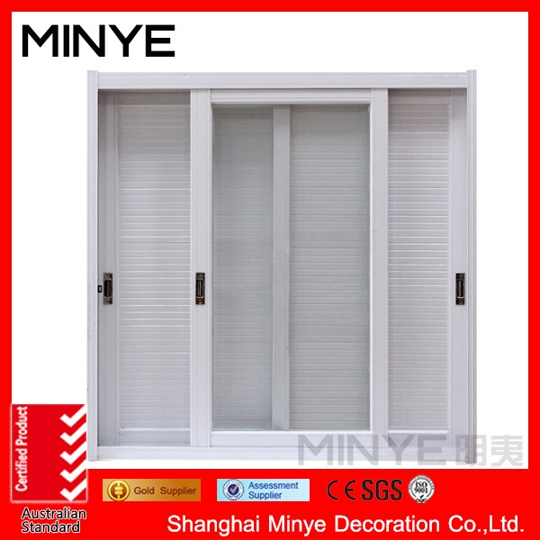 Shanghai big glass aluminum sliding door price,double glazed sliding door with shutters