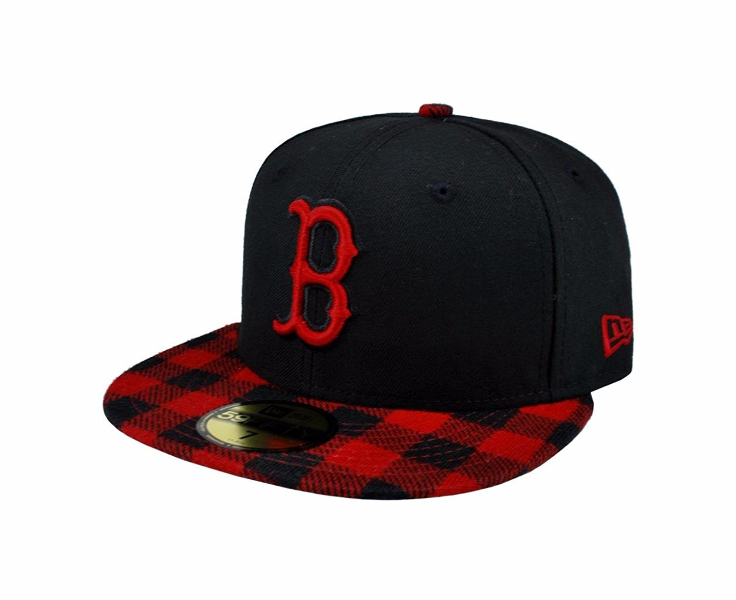 new concept c4254 7057d Get Quotations · NEW ERA 59fifty Mlb Boston Red Sox Hat Premium Fitted Black  with Red Cap