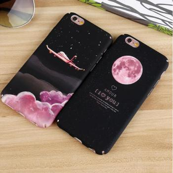 universe Water Transfer Printing Sky moon earth Planet plane PC Hard Cell Phone Case for iPhone 6 7 8Plus natural landscape case