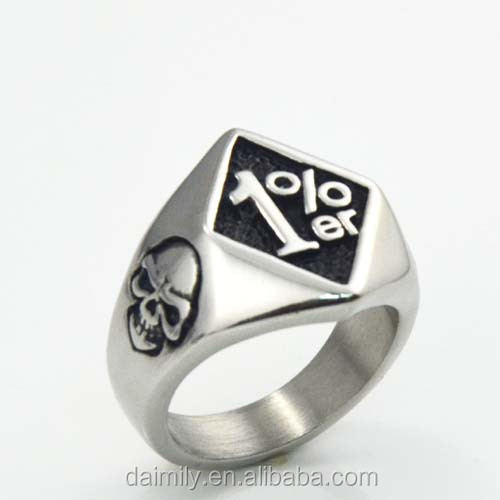 China Factory Sale punk 1%er ONE PERCENT outlaw Biker Ring in Stainless Steel Skull Biker Rings Jewelry size:8-15